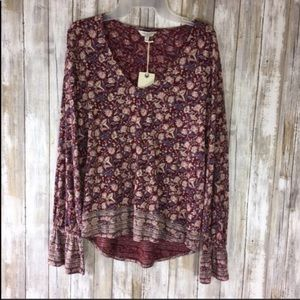 NWT Lucky Brand High Low Floral Blouse